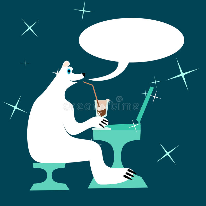 Cartoon polar bear drinking iced coffee and writing to laptop royalty free illustration