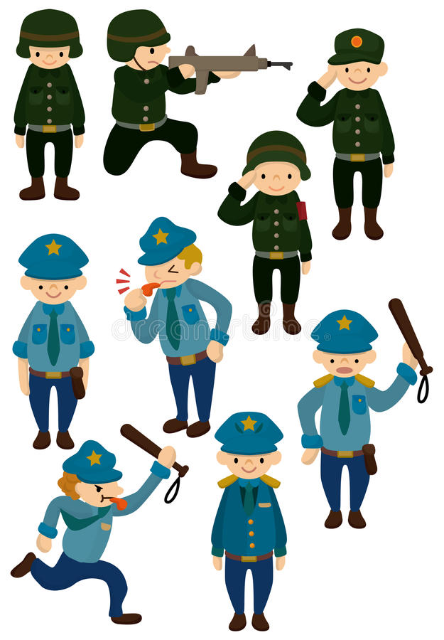Cartoon police and army icon stock illustration
