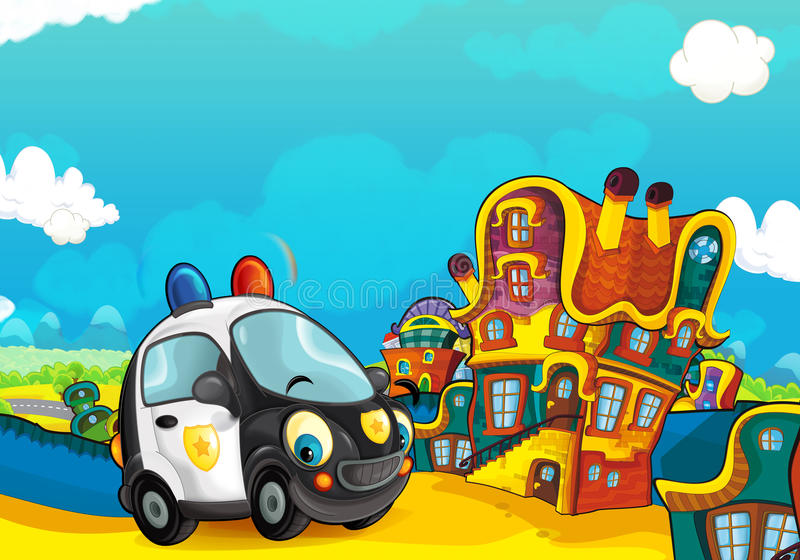 Cartoon police car smiling and looking in the parking lot. Beautiful and colorful illustration for the children - for different usage - for fairy tales royalty free illustration