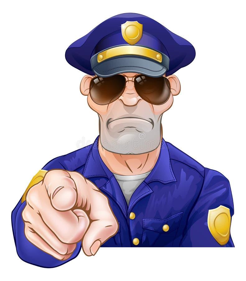 Cartoon Police Man Pointing stock illustration