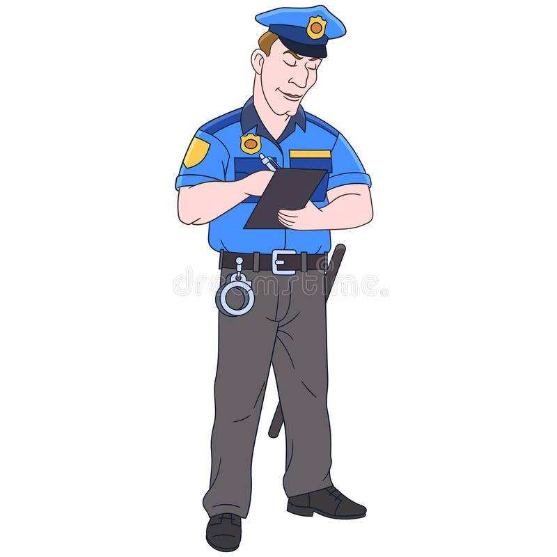 Cartoon police officer, policeman royalty free stock photography