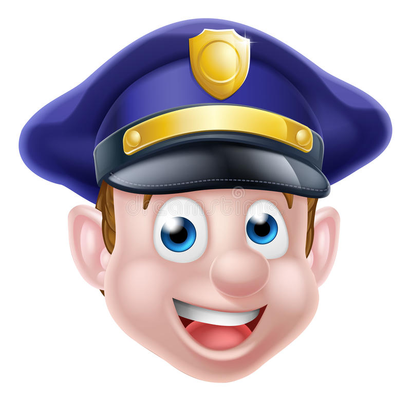 Cartoon Policeman Face stock illustration