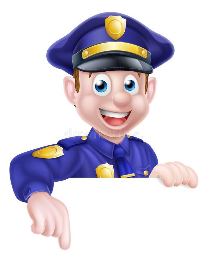 Cartoon Policeman Pointing vector illustration