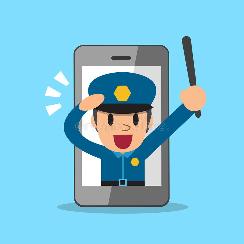 Cartoon policeman and smartphone. For design royalty free illustration