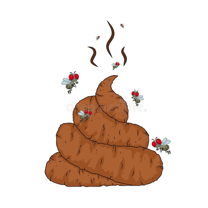 Cartoon poop, shit and flys isolated on white background royalty free illustration