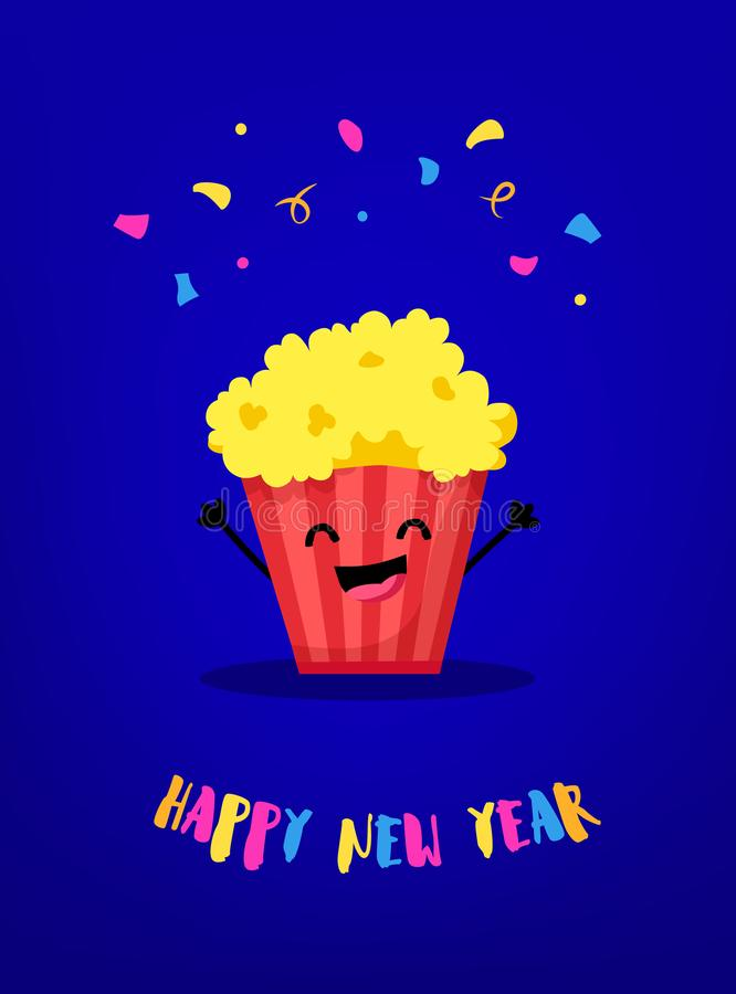 Cartoon popcorn hands up and smiles. Flat style. Happy New Year card. Vector royalty free illustration
