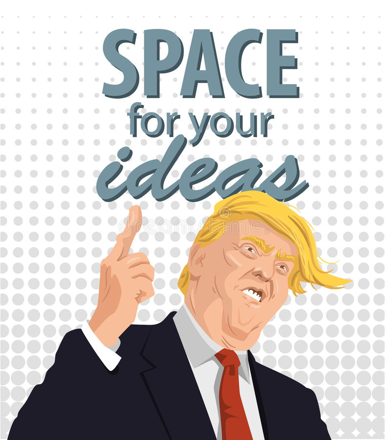 Cartoon Portrait of Donald Trump Giving A Speech. royalty free illustration