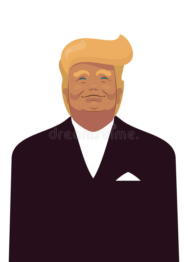 Cartoon Portrait of Donald Trump President of the United States of America USA stock illustration