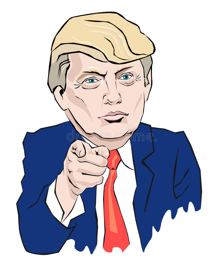 Cartoon Portrait of Donald Trump. Donald Trump In a red tie points with your finger vector illustration