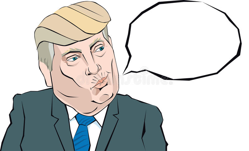 Cartoon Portrait of Donald Trump says something. Donald Trump with a disgruntled look on his face that thinks stock illustration