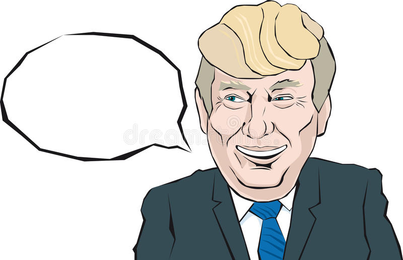 Cartoon Portrait of Donald Trump says something. Donald Trump with a smile look on his face that thinks royalty free illustration