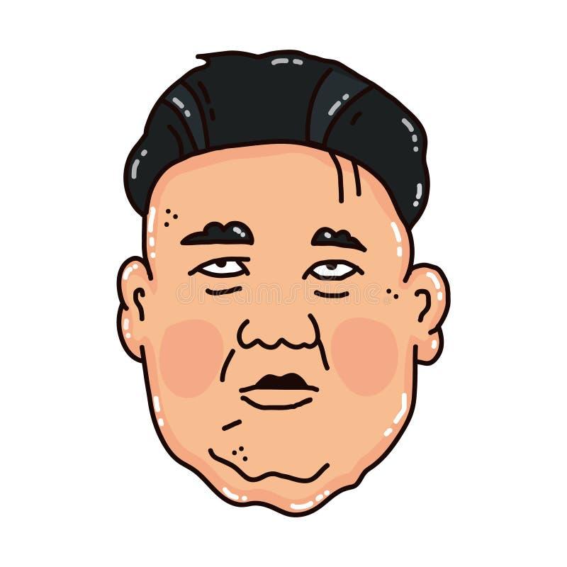 Cartoon portrait of the sad Kim Jong-un. stock illustration