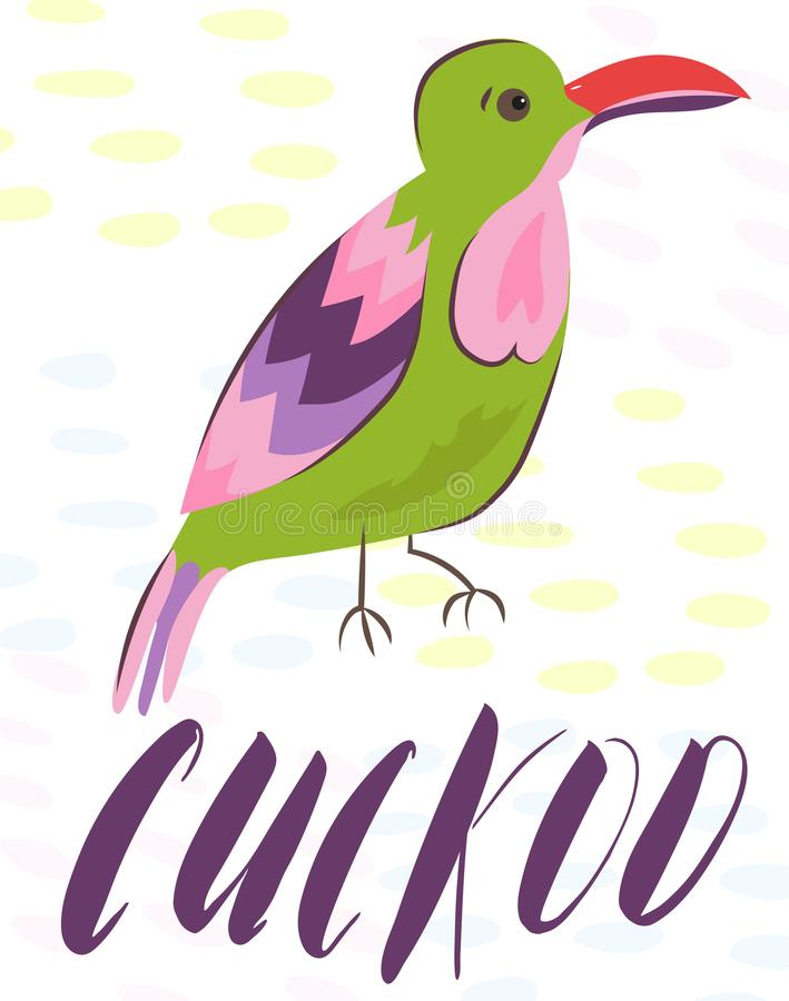 Cartoon poster with beautiful exotic tropical birds vector parrot, amadina. Doodle birds card bright pink, red, green royalty free illustration