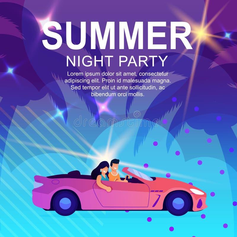 Cartoon Poster Inviting to Summer Night Party stock illustration