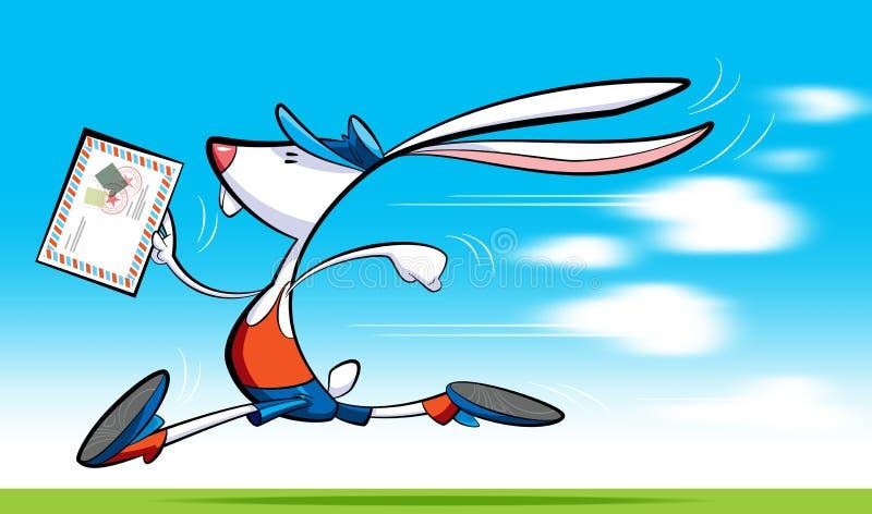 Fast postman rabbit delivering letter. A cartoon postman rabbit, wearing shorts, blouse and shoes delivering letter running royalty free illustration