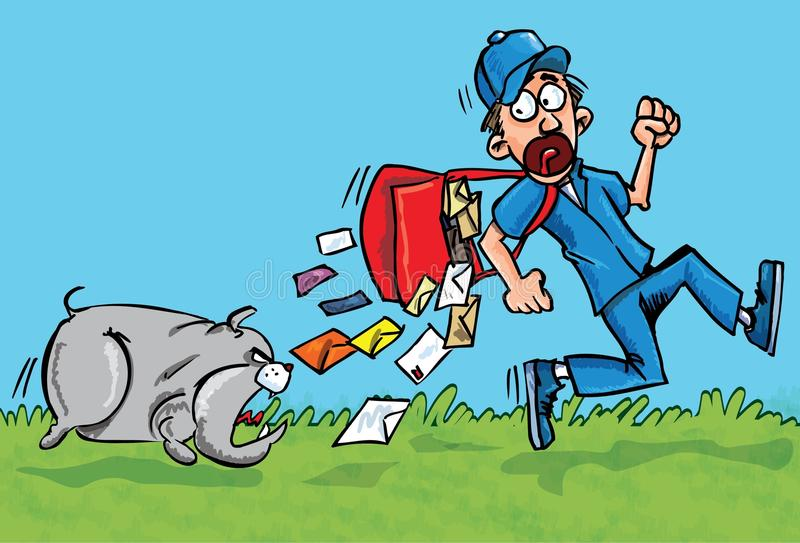 Cartoon Postman Running Away From A Dog Royalty Free Stock Photography