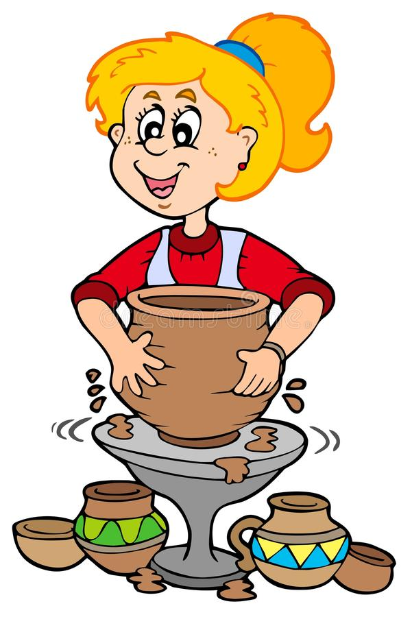 Cartoon pottery girl vector illustration