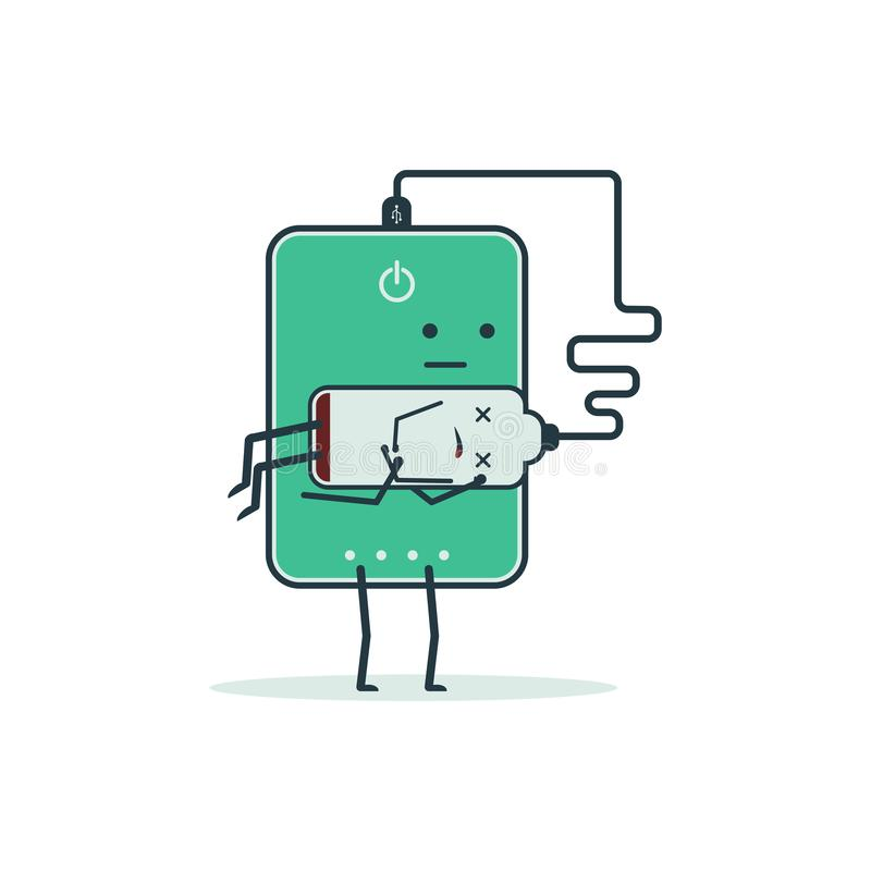 Cartoon poverbank holding a friend`s battery. Touching moment of life saving royalty free illustration