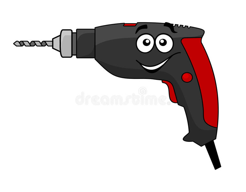 Cartoon power drill tool. Cartoon hand held electric power drill tool with a bit in the chuck and happy smiling face vector illustration