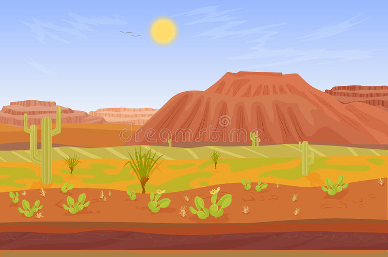 Cartoon prairie desert Grand canyon landscape. Seamless cartoon prairie desert Grand canyon landscape with rocks, cactuses, mountains and tree vector illustration