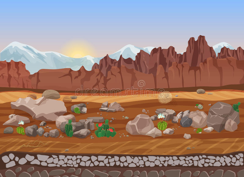 Cartoon prairie dry stone desert landscape with cactus, mountains, rocks and sand. stock illustration