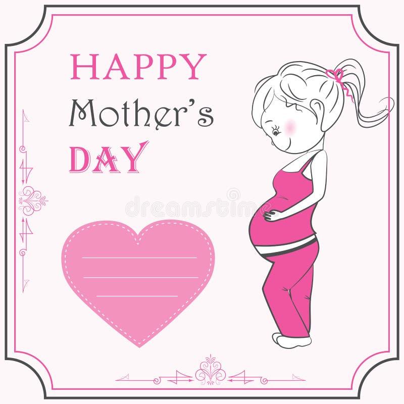 Cartoon pregnant woman and heart vector illustration