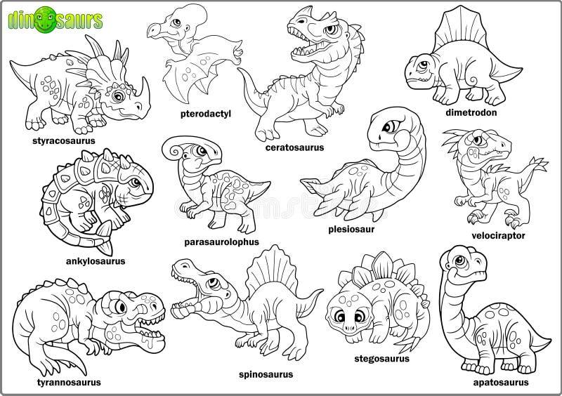 Cartoon prehistoric dinosaurs, coloring book, set of images. Cute cartoon prehistoric dinosaurs, coloring book, set of images vector illustration