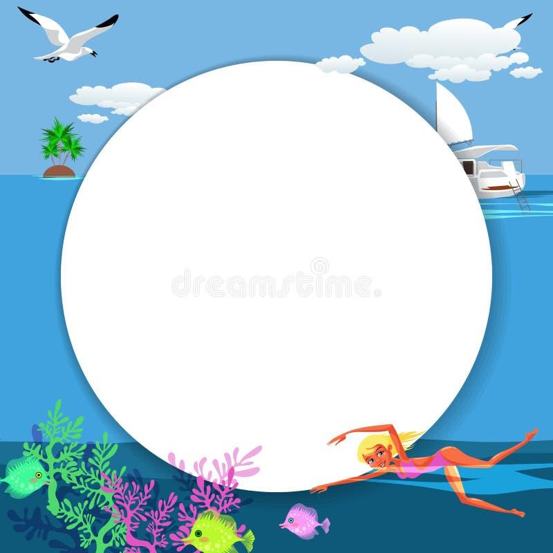 Cartoon pretty girl swimming in blue ocean royalty free illustration
