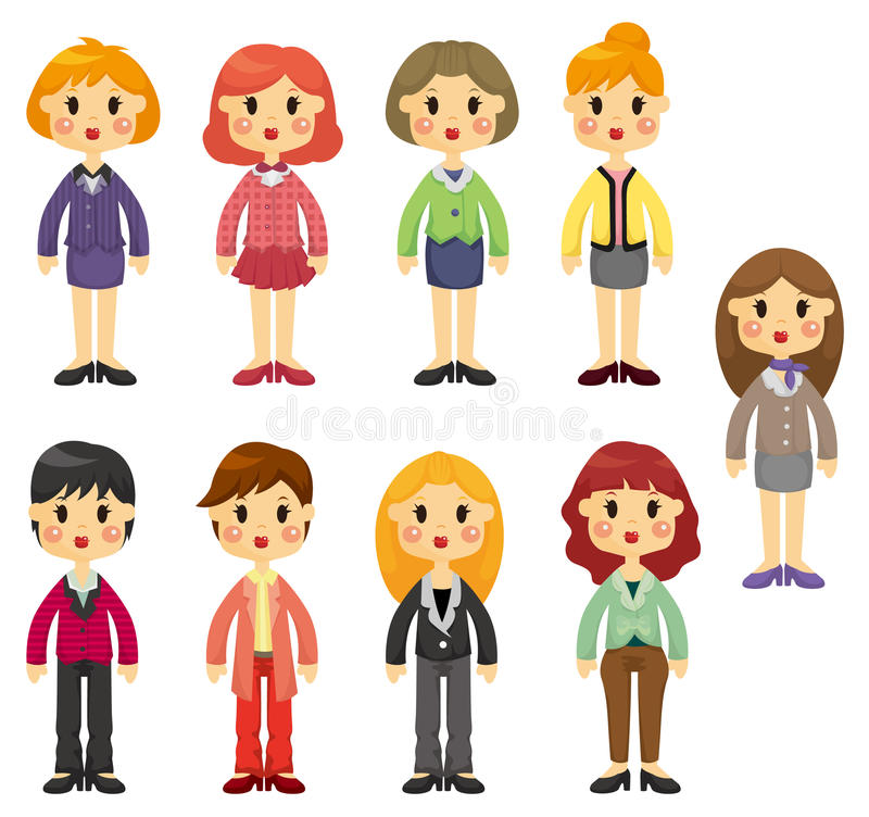 Download Cartoon Pretty Office Woman Worker Icon Set Stock Vector - Image: 19673117