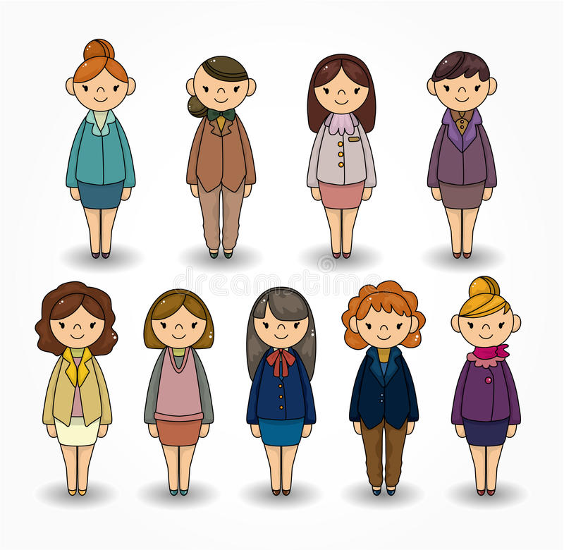 Cartoon Pretty Office Woman Worker Icon Set Royalty Free Stock Image