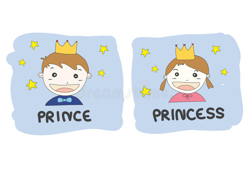 Cartoon prince and princess with gold crown yellow stars and royalty free illustration