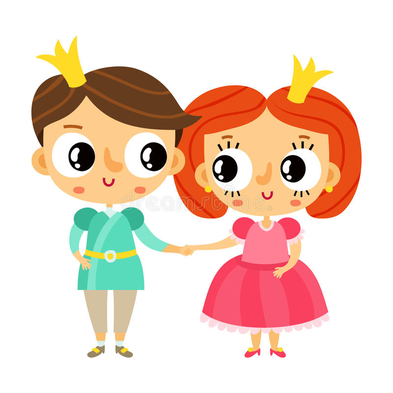 Cartoon Characters Holding Hands : Cartoon prince and princess holding hands cute vector