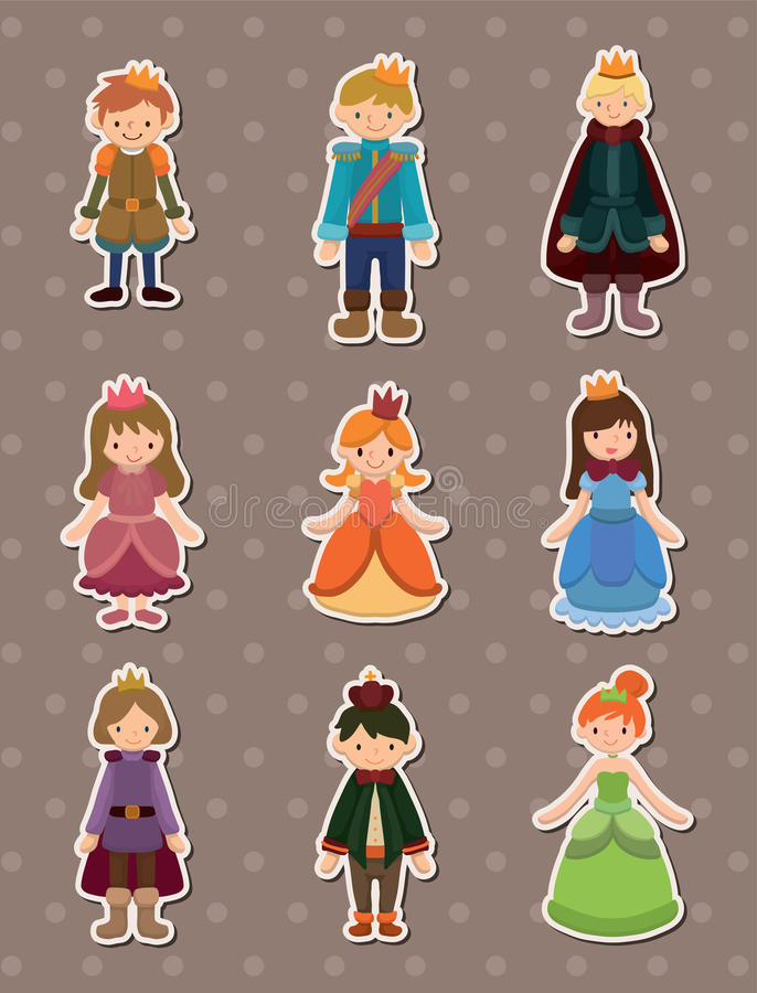 Cartoon Prince and Princess stickers. Cartoon vector illustration royalty free illustration
