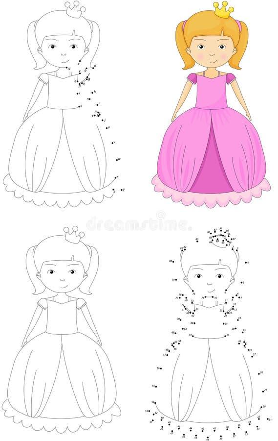 Cartoon princess. Coloring book and dot to dot game for kids. Cartoon princess. Coloring book and dot to dot educational game for kids vector illustration