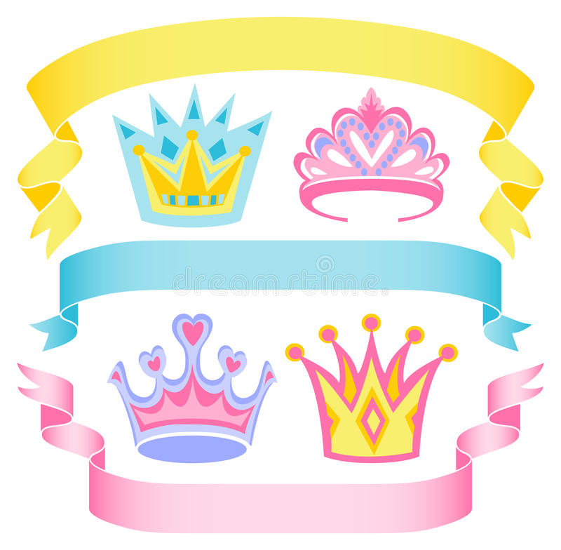 Download Cartoon Princess Crowns And Banners/eps Stock Vector - Image: 25507928