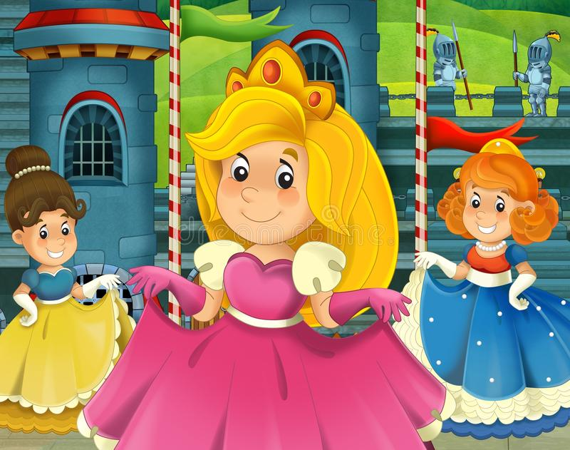 The cartoon princess - medieval times stock illustration