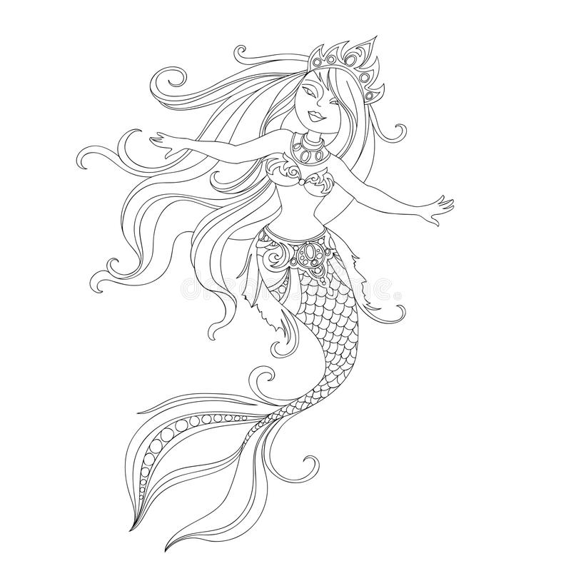 Cartoon princess mermaid. Vector silhouette of mermaid painted line for coloring book, character of beautiful cartoon princess mermaid one line on white stock illustration