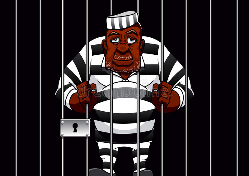 Cartoon prisoner behind bars in the prison. Sad african american cartoon prisoner in striped uniform stands behind bars in cell of the prison, for justice theme royalty free illustration