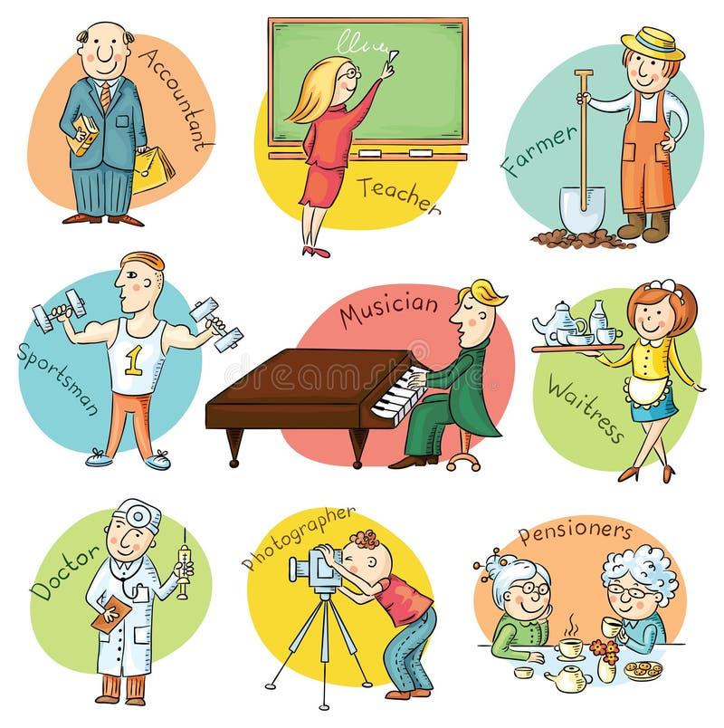 Cartoon Profession Set vector illustration