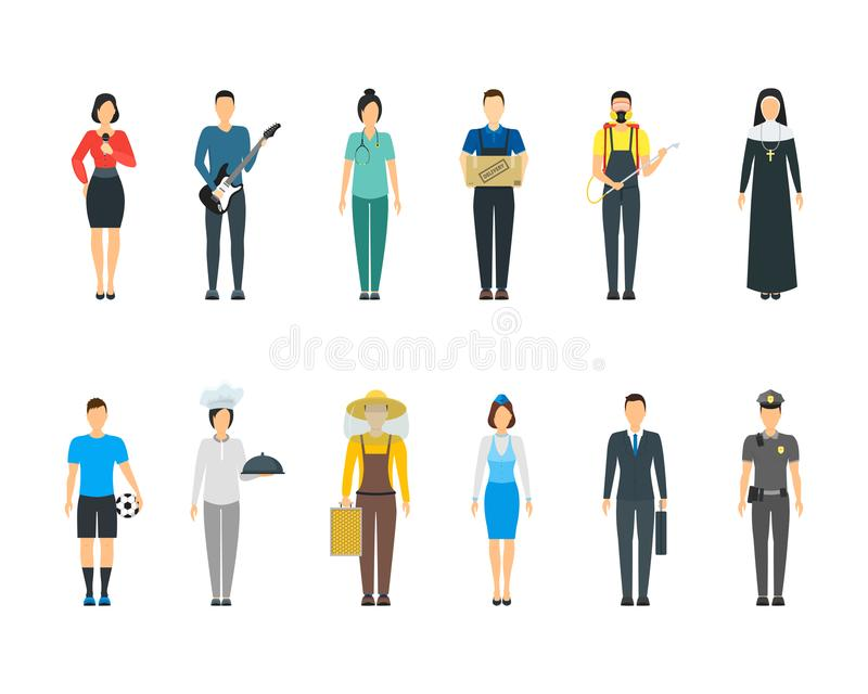 Cartoon Professional People Characters Icon Set. Vector vector illustration