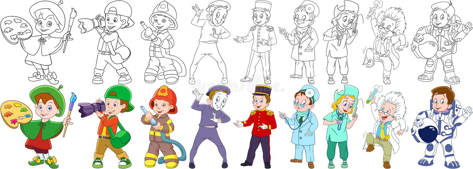 Cartoon professions set royalty free stock images