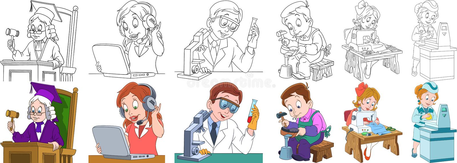 Cartoon professions set. Cartoon working people set. Collection of professions. Judge, operator of call center, chemical scientist, shoemaker cobbler, seamstress royalty free illustration