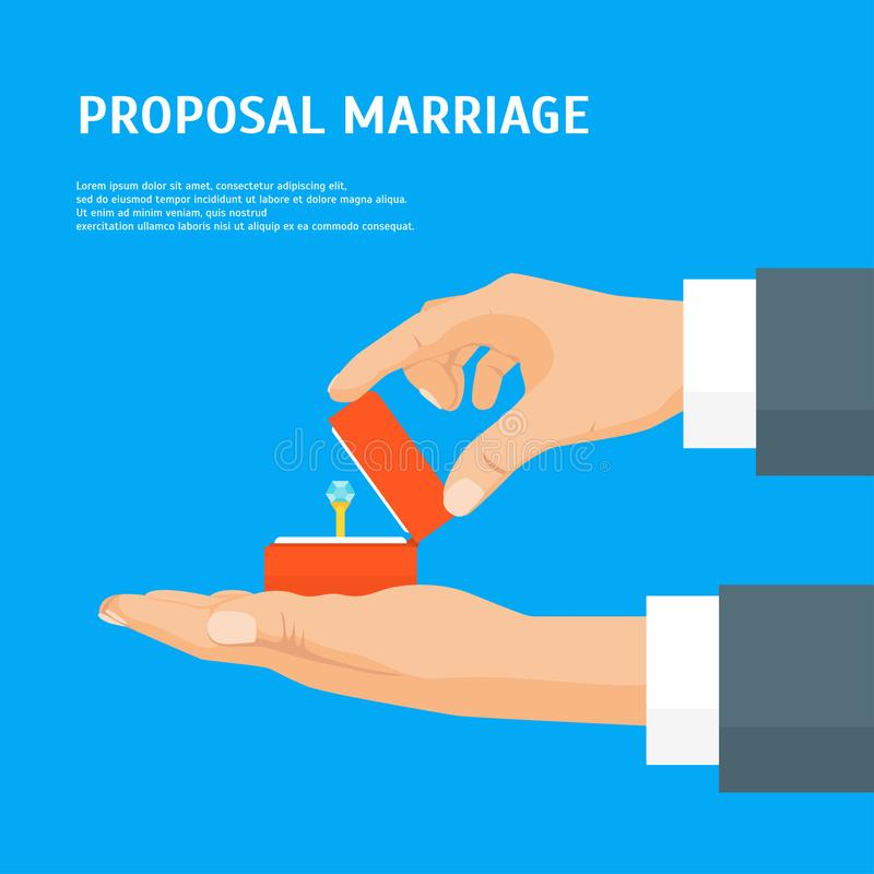 Cartoon Proposal Marriage Concept Human Hands Holding Ring Card Poster. Vector stock illustration