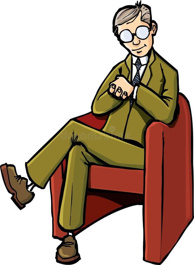 Cartoon psychiatrist sitting on his chair