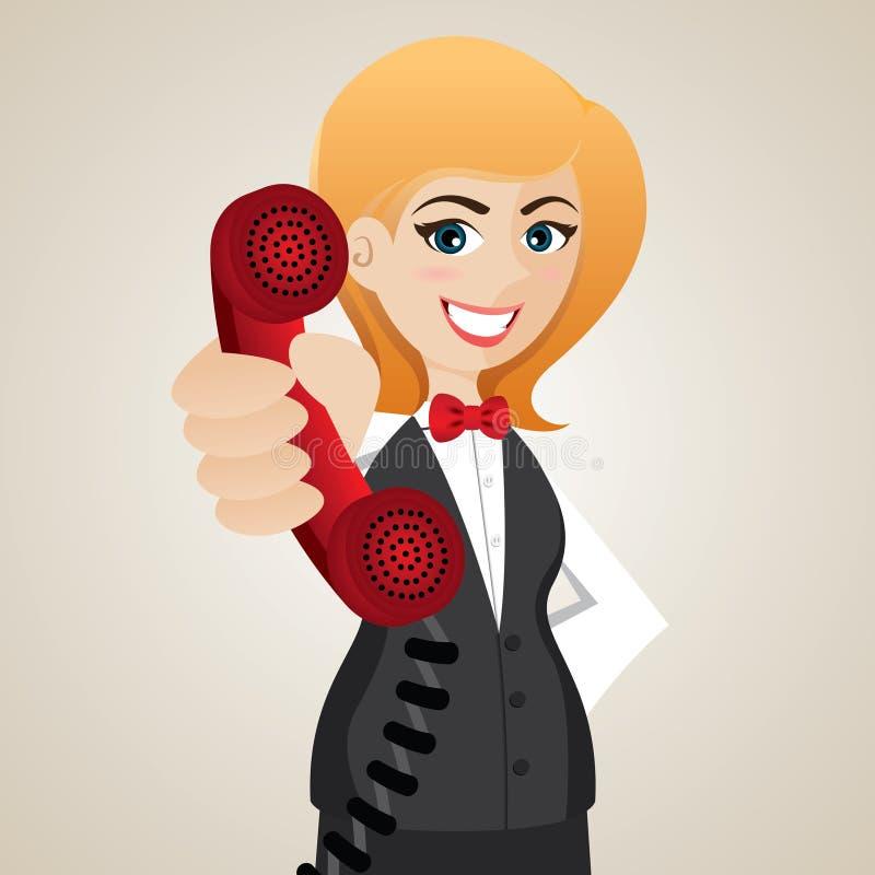 Cartoon public relation holding telephone. Illustration of cartoon public relation holding telephone royalty free illustration