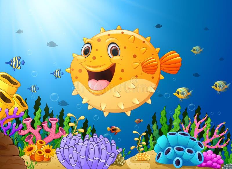Cartoon puffer fish with sea life. Illustration of Cartoon puffer fish with sea life stock illustration