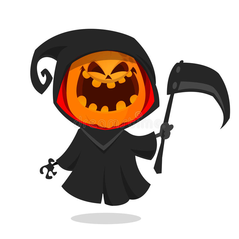 Cartoon pumpkin head monster icon. Vector pumpkin reaper with scythe isolated on white. vector illustration