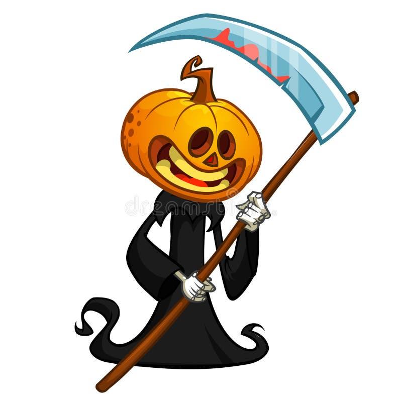 Cartoon Pumpkin Head Monster Vector Reaper In Black Hood With Scythe Isolated On White