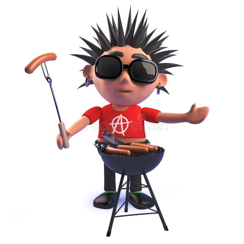 Cartoon punk rocker character in 3d cooking a bbq barbecue. Render in 3d of a cartoon punk rocker character in 3d cooking a bbq barbecue royalty free illustration