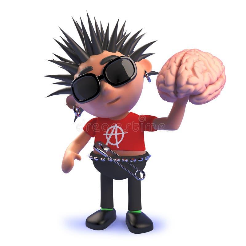 Cartoon punk rocker character in 3d holding a human brain stock illustration